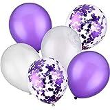 Jovitec 30 Piezas 12 Pulgadas de Globos de Látex Globos con Confeti para Decoración de Fiesta de Boda Cumpleaños (Blanco y Morado)
