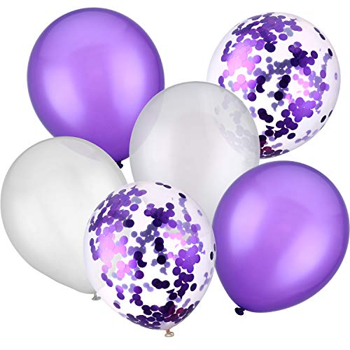 Jovitec 30 Pieces 12 Inches Latex Balloons Confetti Balloons for Wedding Birthday Party Decoration (White and Purple)