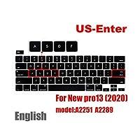 for MacBook pro 132020キーボードカバー用ラップトップ保護フィルム13インチA2289A2251シリコンキーボードカバーロシア語フランス語スペイン語 -US-Enter English