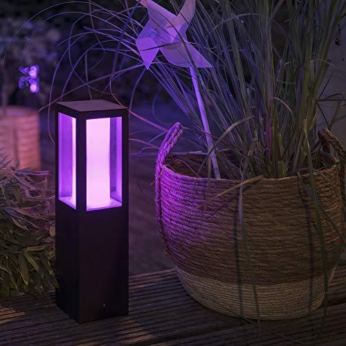 Philips Hue White & Color Ambiance Impress Sockelleuchte, schwarz | LED-Gartenleuchte für den Aussenbereich, dimmbar, bis zu 16 Millionen Farben, steuerbar via App, Tablet & Smartphone