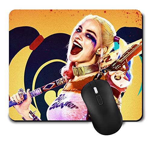 Gaming Mouse Pad,Cute Mouse Mat with Design,Waterproof and Non-Slip Rubber Base Office Mousepad,Middle Size 9.45x 7.87 x 0.08 Inch,Harley Quinn Margot Robbie Suicide Squad Colour