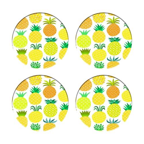 Posavasos para Bebidas,Frutas Hawaianas Frescas y Dulces en Formas artísticas Huerto orgánico,Manteles Individuales Redondos Reutilizables para la decoración de la Barra de Cocina