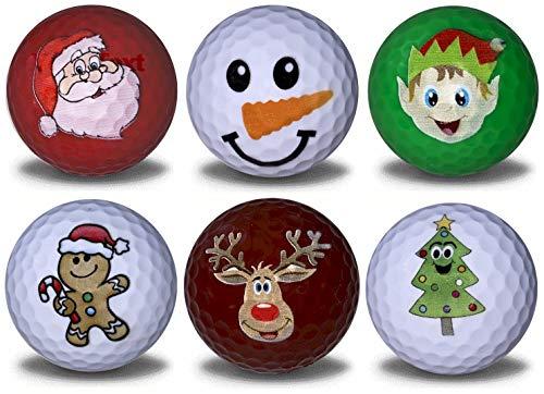 GBM GOLF BALL MANUFACTURERS Christmas Variety 6 Pack - Christmas Tree, Elf, Gingerbread Man, Snowman, Santa, and Reindeer Novelty Imprints.