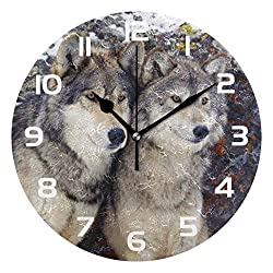 TropicalLife Animal Wolf Wolves Decorative Wall Clock Acrylic Round Clocks Non Ticking Art Decor Bedroom Living Room Kitchen Bathroom Office School