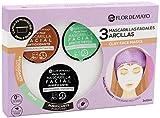 Set de 3 Mascarillas Faciales con Turbante de Regalo: Arcilla Roja Antioxidante, Verde Detox y Negra...