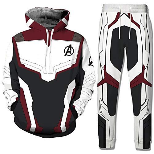 Avengers Endgame Film Superhero 3D Sudadera con Capucha Quantum Hoodie Pantalones Set(M)