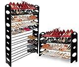OxGord 50-Pair Shoe Rack Storage Organizer, 10-Tier Portable Wardrobe Closet Bench Tower - Stackable, Adjustable Shelf - Strong & Sturdy Space Saver Wont Weaken or Collapse - Black 2-Pack