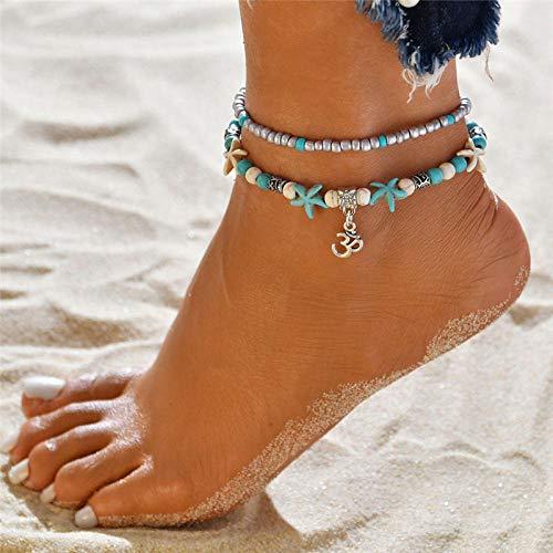 JEFEYI Tobillera de Playa Bohemian Star Stone Tobillo Conjunto Hecho a Mano Vintage Wave Pier Beach Ocean para mujeres-50153