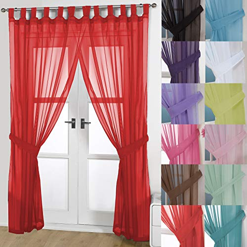 John Aird Pair Of Woven Voile Tab Top Curtain Panels. Free Tiebacks Included (Red, 58' Wide x 90' Drop)