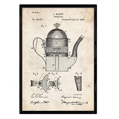 Nacnic Poster con patente de Cafetera 1. Lámina con diseño de patente antigua en tamaño A3 y con fondo vintage