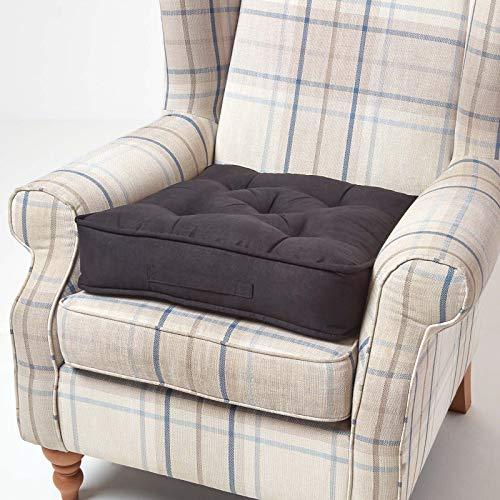 Homescapes großes Sitzkissen 50 x 50 x 10 cm, Sitzerhöhung mit Tragegriff und Veloursbezug, gepolsterte Aufstehhilfe für Sessel und Sofas,schwarz