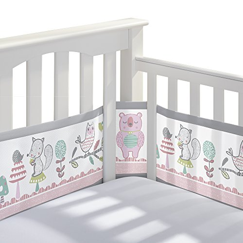 BreathableBaby Classic Patented, Safer for Baby, Anti-Bumper, Non-Padded, Breathable Mesh Crib Liner - Forest Fun Pink