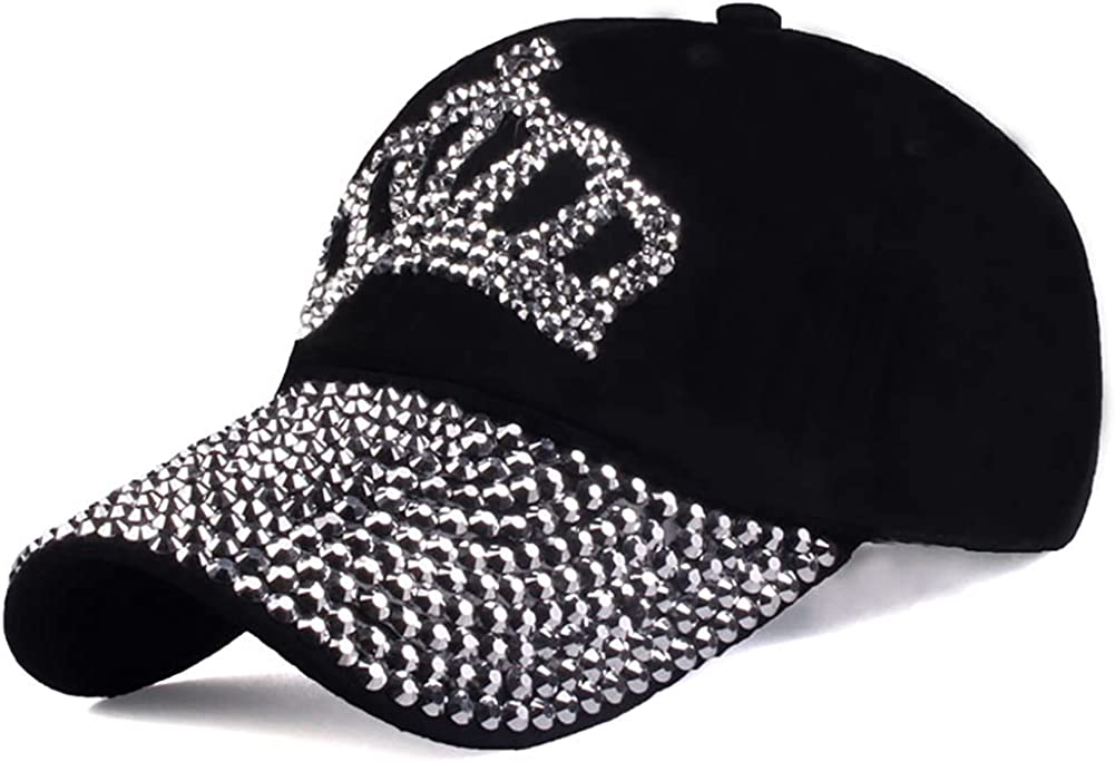 Gudessly Bling Women Baseball Cap Flower Snapback Rhinestone Sun Hats Adjustable Denim Jeans Hat (Crown-Black02) at  Women's Clothing store