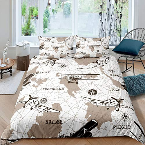 Airplane Bedding Set Full Size Youth Aviation Aircraft Comforter Cover For Kids Boys Teens Young Man World Map Duvet Cover Compass Glider Quilt Cover Bedroom Decor With 2 Pillow Cases Brown White