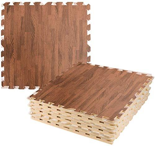 LUVODI Tappetini in schiuma EVA ad incastro Grano di legno Pavimento Palestra Esercizio Yoga Bambini Gioca Soft Puzzle Piastrelle Pavimentazione Tappetino impermeabile 24 set (60x60cm)