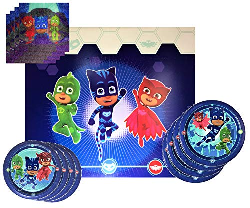 PJ Mask Party Supplies Tableware Bundle Pack For 16 Guests - Includes 16 Dinner Plates, 16 Dessert Plates, 16 Dinner Napkins, and 1 Tablecover