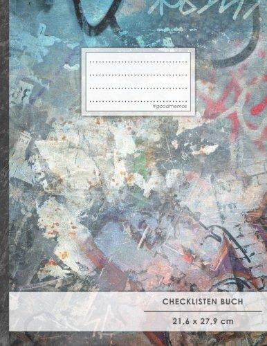 """Checklisten-Buch: DIN A4 • 70+ Seiten, Soft Cover, Register, \""""Graffiti\"""" • #GoodMemos • 18 Checkboxen + Platz für Notizen/Seite (inkl. Register mit Datum uvm.)"""