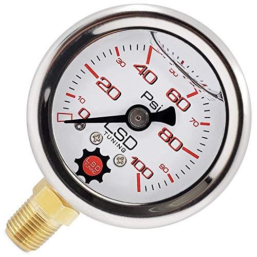 Pressure Gauge for Fuel and Oil - Liquid Filled 0-100 Psi