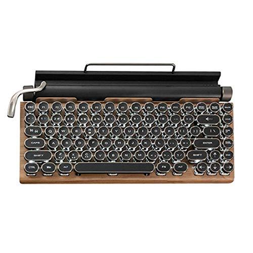 MFFZHJ TW1867 Teclado retro de máquina de escribir Bluetooth 5.0, inalámbrico, para juegos, con interruptores azules, base de madera, batería de 1000 mA, Punk Keycaps para Win/Mac/Linux