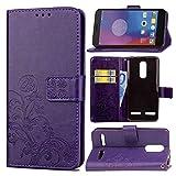 Guran® Funda de Cuero PU para Lenovo K6 5' Smartphone Función de Soporte con Ranura para Tarjetas Flip Case Trébol de la Suerte en Relieve Patrón Cover - Púrpura