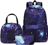 BLUBOON School Backpack Teens Girls Boys Kids School Bags Bookbag with Lunch bag pencil pouch (Blue)