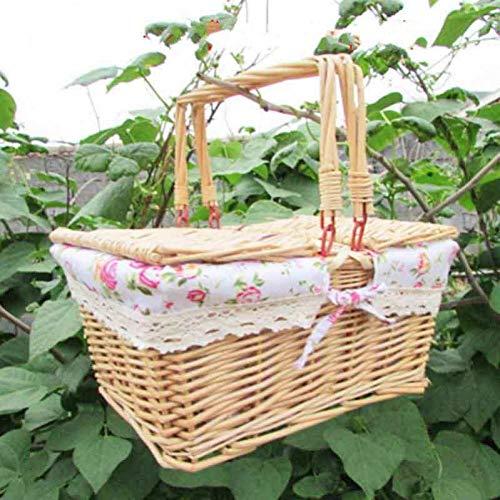 RFVNAC Big Vintage Picknickkorb aus Korbgeflecht mit Deckel und Griff zum Zusammenklappen des Picknickkorbs