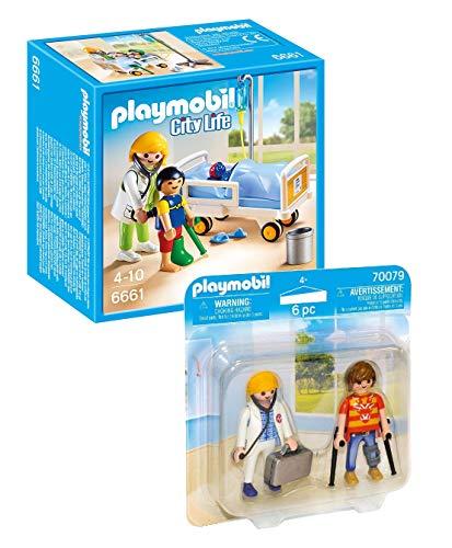 Playmobil Krankenhaus Hospital Set: 6661 Ärztin am Kinderkrankenbett + 70079 Duo Pack DuoPack Ärztin und Patient