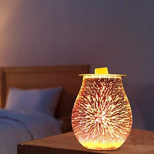 HITECHLIFE Lámpara de Aroma de Vidrio 3D con Efecto de Fuegos Artificiales, Quemador de Aceite eléctrico, lámpara de Aroma para Cera derretida, luz de Noche con Fragancia para Oficina en casa