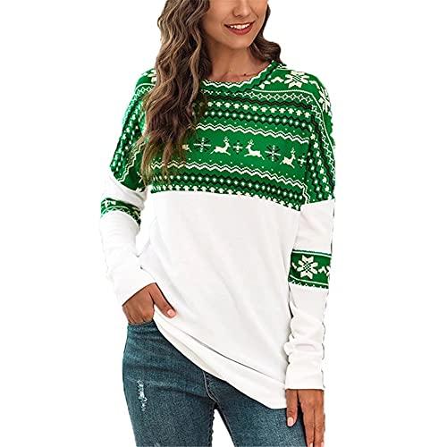 LYAZFC suéter de Camiseta de Manga Larga Informal con Estampado a Juego de Colores navideños de otoño e Invierno para Mujer