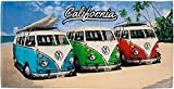 Volkswagen Badetuch VW Bulli California Beach Camper-Van 75 x 150 cm Rot Blau Grün 100% Baumwolle...