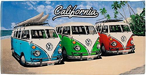 Volkswagen Badetuch VW Bulli California Beach Camper-Van 75 x 150 cm Rot Blau Grün 100% Baumwolle Veloursqualität VW Bus T1 Strandlaken Strandtuch Handtuch Badelaken Duschtuch Saunatuch Retro 027