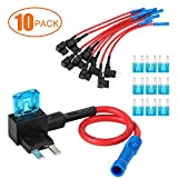 CZC AUTO Add-a-circuit Fuse Tap Fuse Adapter Mini Blade Fuse Holder ATM APM, 12V with 15 Amp for Electronic Device on Most Vehicles & Boat, 10 Pack