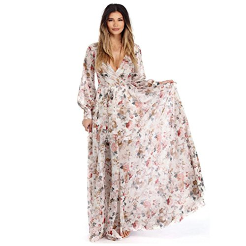 AMUSTER.DAN Damen V-Ausschnitt Bohemian Kleid Frauen Langarm Chiffon Blumen Lang Maxi Kleid (L, B)