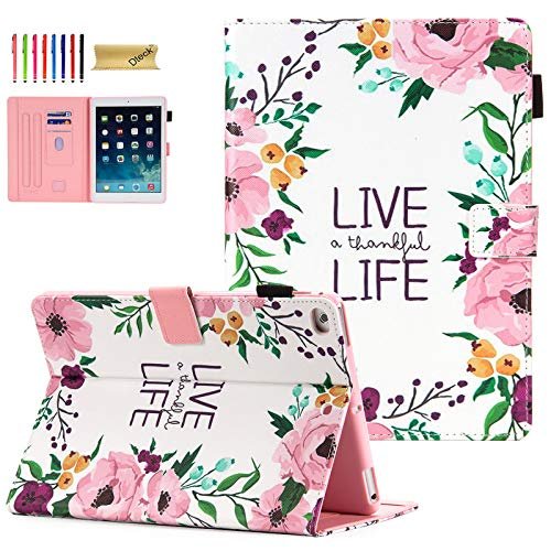 iPad 9.7 Case 2018/2017, iPad 6th/5th Gen Case with Pencil Holder, Dteck Premium Leather Folio Stand Case, Auto Wake/Sleep Magnetic Protective Cover for iPad 9.7 2018/2017, iPad Air 1/2, Live Life