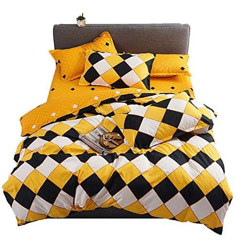 Demarkt Colcha de cuadros amarillos con 1 edredón y 2 fundas de almohada de 50 x 70 cm