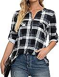 Blusa para mujer, camisa de cuadros de manga larga, cuello en V, con cremallera, estilo casual, Negro , L