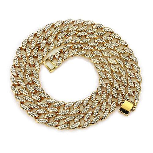 Anhänger Halskette Schmuck 15Mm Gliederketten Halskette Geometrisch Stilvolle Farbe Voll Strass Halsketten Männer Hiphop Schmuck-Gold-60Cm