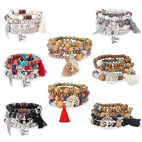 FIBO STEEL 8 Pcs Bohemian Stackable Wood Beads Bracelets for Women Boho Multilayer Stretch Bracelet Set Statement Tassel Bangles