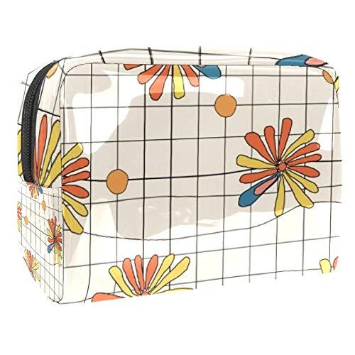 Tragbare Make-up-Tasche mit Reißverschluss, Reise-Kulturbeutel für Frauen, praktische Aufbewahrung von Kosmetiktasche, Keks-Blume