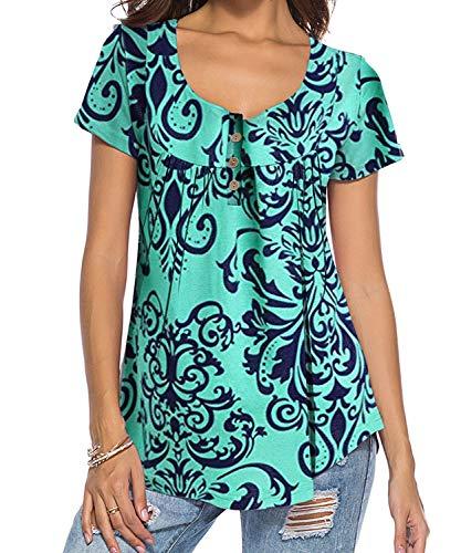 DEMO SHOW Damen Tunika Top Locker Langarm V Ausschnitt Knopfleiste Plissiert Floral Henley Shirt Bluse T Shirt (Mintgrün 01, XL)
