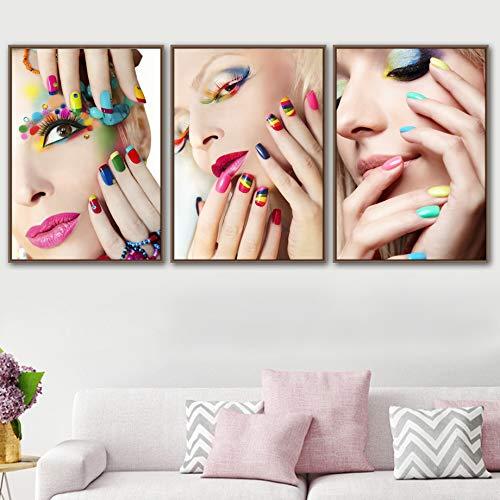 KWzEQ Nagellack Leinwand Wandkunst Mädchen Mode Lidschatten Malerei Poster nordische kosmetische Schönheit Salon Dekoration-Rahmenlose Malerei60x80cmx3