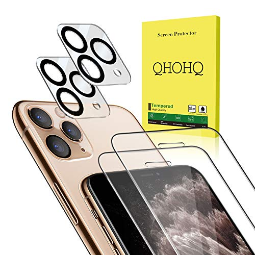 [4 Pack] QHOHQ 2 Pack Tempered Glass Screen Protector +2 Pack Tempered Glass Camera Lens Protector for Apple iPhone 11 Pro Max(6.5