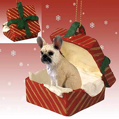 FRENCH BULLDOG BULL DOG FAWN sits in a Polyresin Red Gift Box Christmas Ornament New RGBD73B
