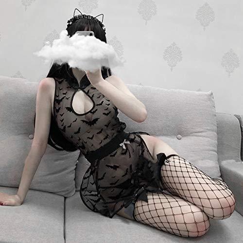 YINSHENG Disfraz de Cosplay de Diablo Femenino Bat Demon Actuacin en Vivo Lencera Sexy Traje de Vendaje de Anime Conjunto de Pijama de Encaje Nocturno Ropa Interior de Mujer Body de peluc