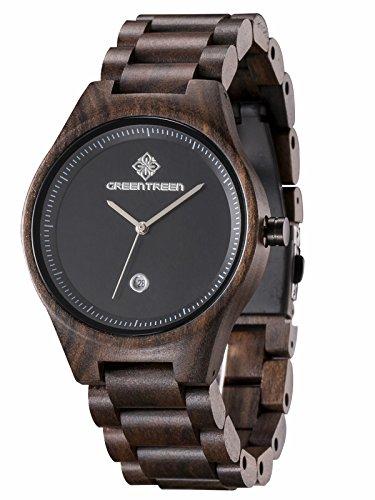 Greentreen Herren Holzuhr, Armbanduhr für Männer mit Holzarmband Analog Quarz (schwarz)