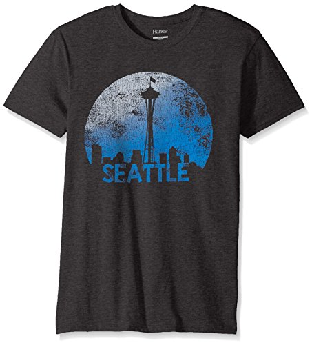 Hanes Men's Graphic Tee-Americana Collection, Slate Heather/Seattle, Large