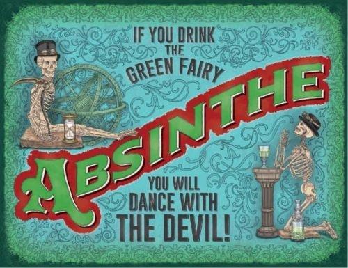 Panneau publicitaire en métal émaillé Motif Absinthe Vert 15 x 20 cm