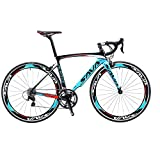 SAVADECK Carbon Road Bike, Warwinds3.0 700C Carbon Fiber Racing Bicycle with SORA 18 Speed Derailleur System and Double V Brake (Blue, 54cm)