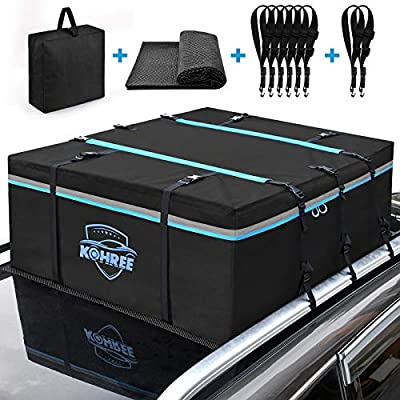 Kohree Car Roof Bag Cargo Carrier, 15 Cubic Feet Waterproof Vehicle Rooftop Cargo Carrier with Anti-Slip Mat + 8 Reinforced Straps + 8 Door Hooks Car Top Carrier Fits All Vehicle with/Without Rack