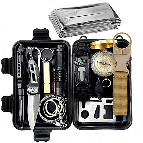 MikeyBee Survival kit set military outdoor travel mini camping tools aid kit emergency multifunct survive Wristband whistle blanket knife(With Wristband)